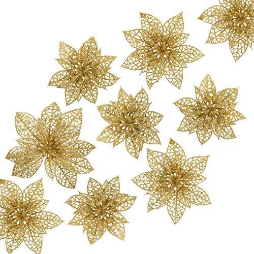 Naler 24-teilig Weihnachtsblumen Glitzer Blumen Weihnachten Deko Weihnachtsbaumschmuck Poinsettia für Weihnachtsbaum Adventskranz, Gold
