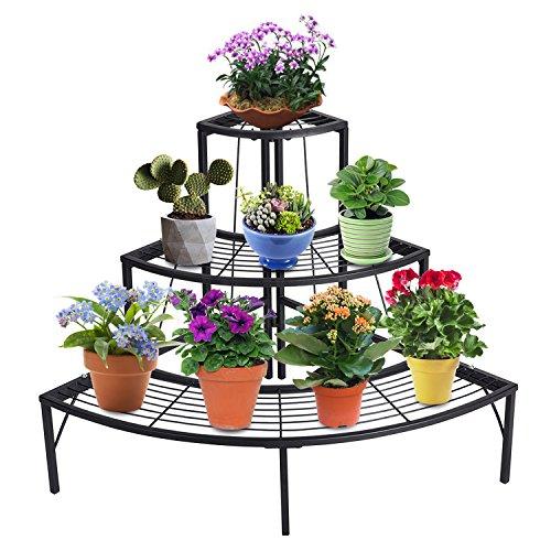 corner shelf unit for flowers DOEWORKS 3 Tier Plant Stand Flower Pot Rack, Quarter Round Plant Corner Shelf Planters Display Holder orchid shelves for Indoor Outdoor Use, Black