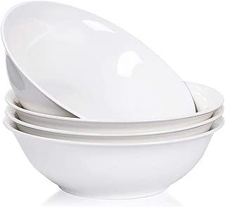 Porcelain Soup Bowls, 45 Ounce Ceramic Rim Bowl Set, Serving for Pasta, Ice Cream and Salad, Set of 4, Pure White