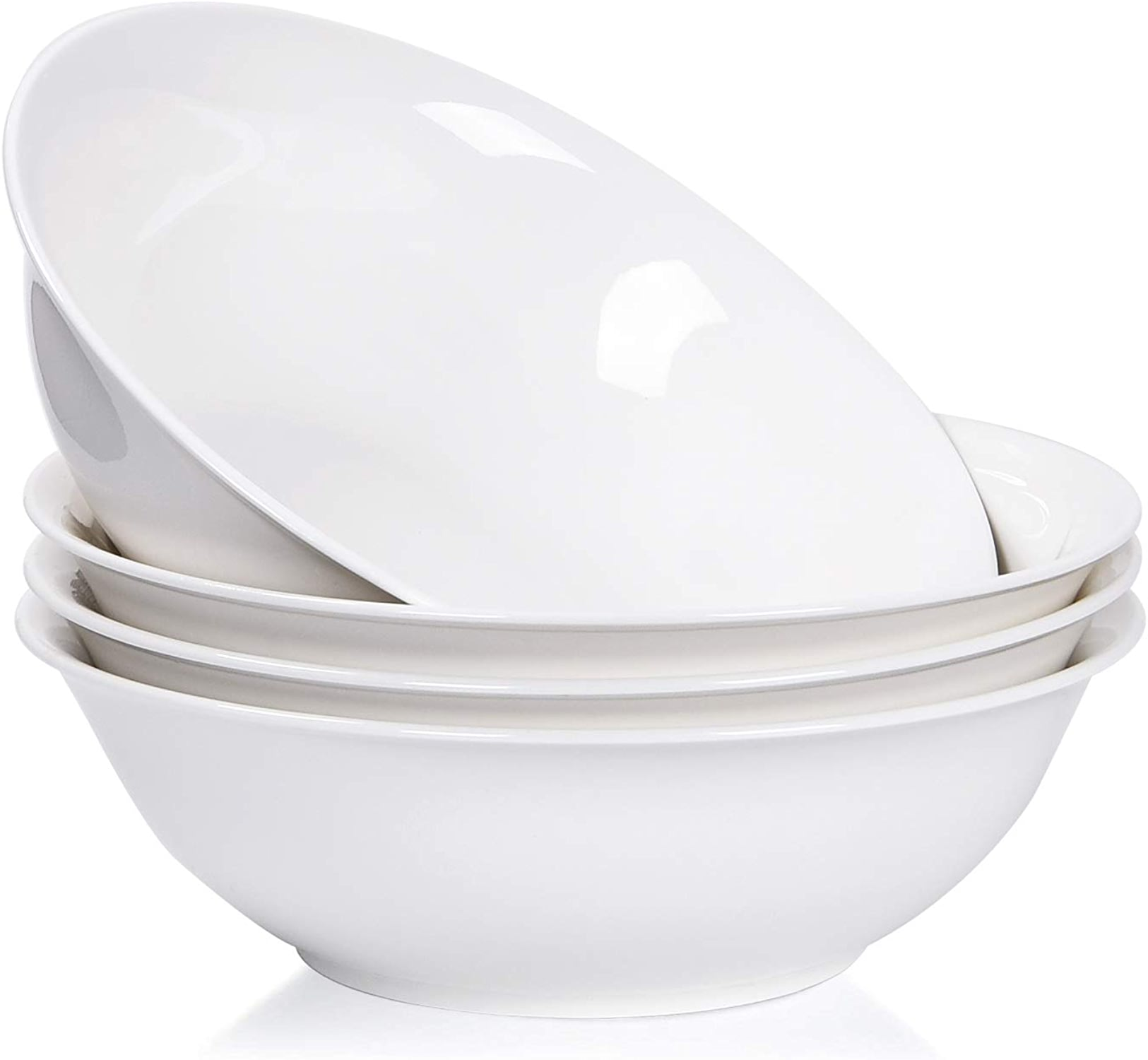 Lot de 4 grands bols à soupe en porcelaine Blanc pur 122 g 48 Ounce blanc pur