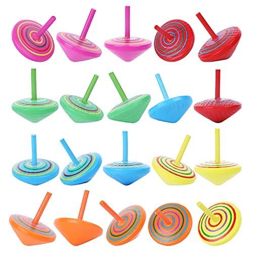 20 piezas de color aleatorio de madera Spinning top Kindergarten educativos juguetes educativos coloridos educativos