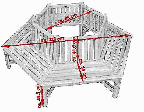 KMH®, 360° Baumbank (hexagonal) mit Rückenlehne aus massivem Teakholz! (#102150) - 3