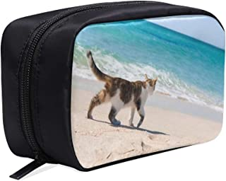 A Black And White Cat Lay By The Lake Portable Travel Makeup Cosmetic Bags Organizer Multifunction Case Small Toiletry Bags For Women And Men Brushes Case