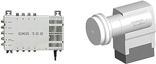 Kathrein EXR 158 Satelliten ZF Verteilsystem Multischalter (1 Satellit, 8 Teilnehmeranschlüsse, Klasse A) & KEL 440 Euroline Quatro LNB, Grau, Weiß