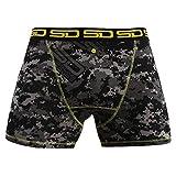 Smuggling Duds Men's Stash Boxer Brief Shorts - Pickpocket Proof Travel Secret Pocket Underwear Carbon-Digi-Cam Large
