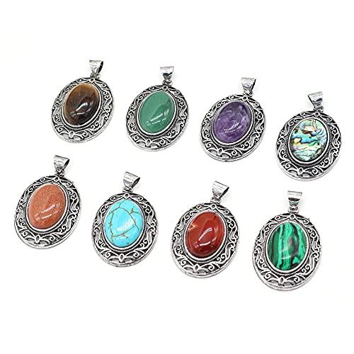 XIAORUI Piedra Natural Forma de Huevo turquesas Cuarzo Rosa Reiki Curar Colgante de Encanto para Collar Pendiente fabricación de Joyas Regalo de Mujer 33X45Mm