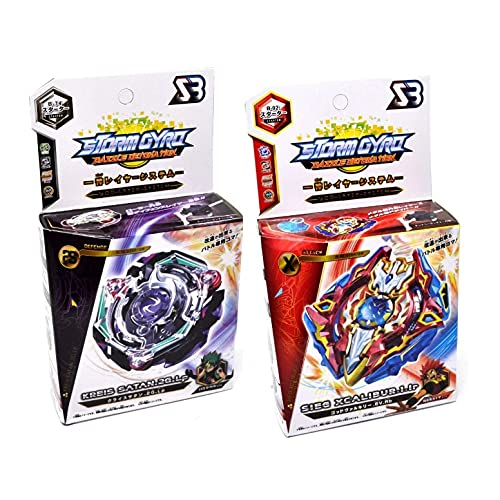 2 x Storm-gyro Kreis Satan .2G.LP / XCALIBUR Bey Burst Blade con lanciatore a mano trottola bursttop gyro giocattolo con spada Bey
