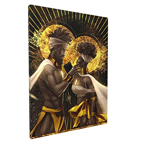 African American Wall Art Black Queen King Lover Canvas Print Contemporary Painting Funny Artworks Home Decor For Bathroom Living Room Bedroom Framed Ready To Hang 12x16 Inch