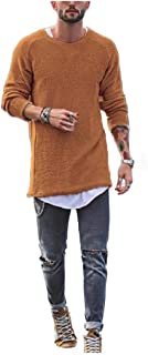 WUFAN Men Casual Leisure Pullover Round Neck Knit Longline Sweatshirts