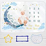 "GUGU Baby Monthly Organic Milestone Blanket for Baby Boy & Girl | 100% Organic Fleece Extra Soft | Best Photographic Backdrop for Newborn | Includes Bandana Drool Bib + 2 Frames | Large 60""x40"""