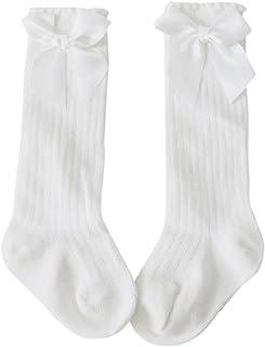 Calcetines de bebé, Nuevos niños pequeños niñas bebé arco rodilla alta calcetines de algodón largo (S - 0-2T, Blanco)