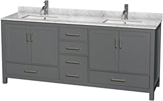 Wyndham Collection Sheffield 80 inch Double Bathroom Vanity in Dark Gray, White Carrara Marble Countertop, Undermount Square Sinks, and No Mirror