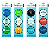 Funny Quote Bookmarks - JUST Clip IT! (4 Sets of 3 Page Markers- Total 12) Funny Readers Bookmark Set - Ideal for Bookworms of All Ages. Adults Men Women Teens & Kids Love Our Fun Domed Designs!