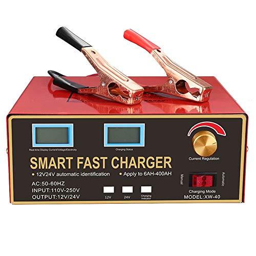 CUIJU Cargador de batería de Coche Mantenedor de Pulso Inteligente Cargador de batería de Plomo con Pantalla de Barra LED (Rojo)