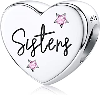 JIAYIQI Sisters 925 Sterling Silver Charm Fit Pandora Charms,Heart Love Silver Charms for Bracelets Necklace Sister-Charms