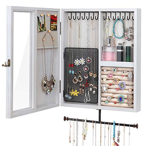 Keebofly Wall Mounted Jewelry Organizer with Rustic Wood Large Space Jewelry Cabinet Holder for Necklaces, Earrings, Bracelets, Ring Holder, and Accessories White