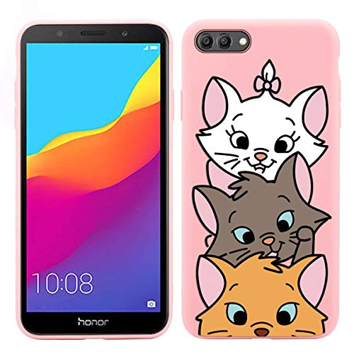 Pnakqil Huawei Y5 2018/Huawei honor 7S Cover,Custodia per Huawei Y5 2018/Huawei honor 7S Silicone TPU Cover Case Antiurto Antigraffio Ultrasottile Back Case Cellulare Rosa Chiaro,Gatto 03
