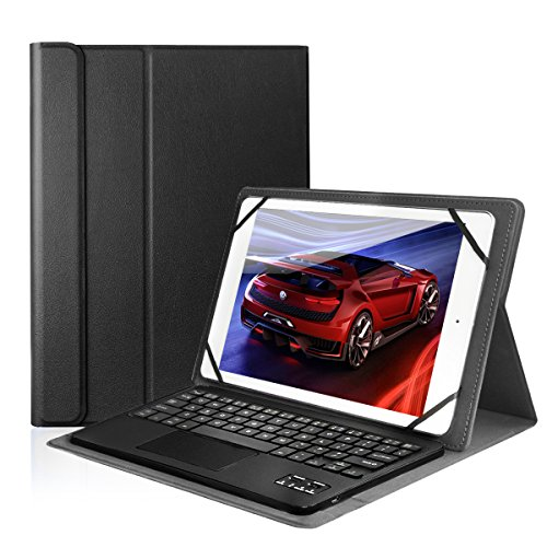 CoastaCloud Pu Leather Folio Bluetooth Keyboard Case Cover for Samsung Galaxy Note 10.1 Tablet N8010/N8000 (2012) and Tab A 9.7 T555C/T550 with QWERTY Layout Removable Keyboard and Touchpad Black