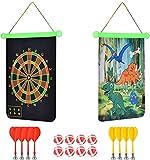 Wuudi Magnetisches Dartscheiben Set Sicheres Doppelseitige Dartspiel 15 Inch für Kinder Dartboard mit 6 Dartpfeile und 6 Bällen Jura