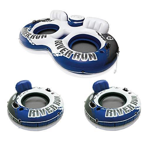 Intex River Run II Inflatable 2 Person Pool Tube Float + 2 Single Water Rafts