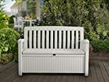 KETER 60 Gallon Storage Bench Deck Box for Patio Furniture, Front Porch Decor and Outdoor Seating – Perfect to Store Garden Tools and Pool Toys (White)