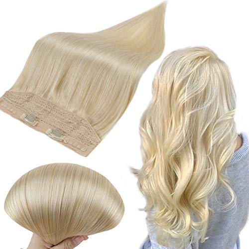 Runature Halo Hair Extensions Echthaar 14 Zoll 35Cm Farbe 613 GebleichtesBlond 70G Glatt Haar Brasilianische Fish Wire Hair Extension