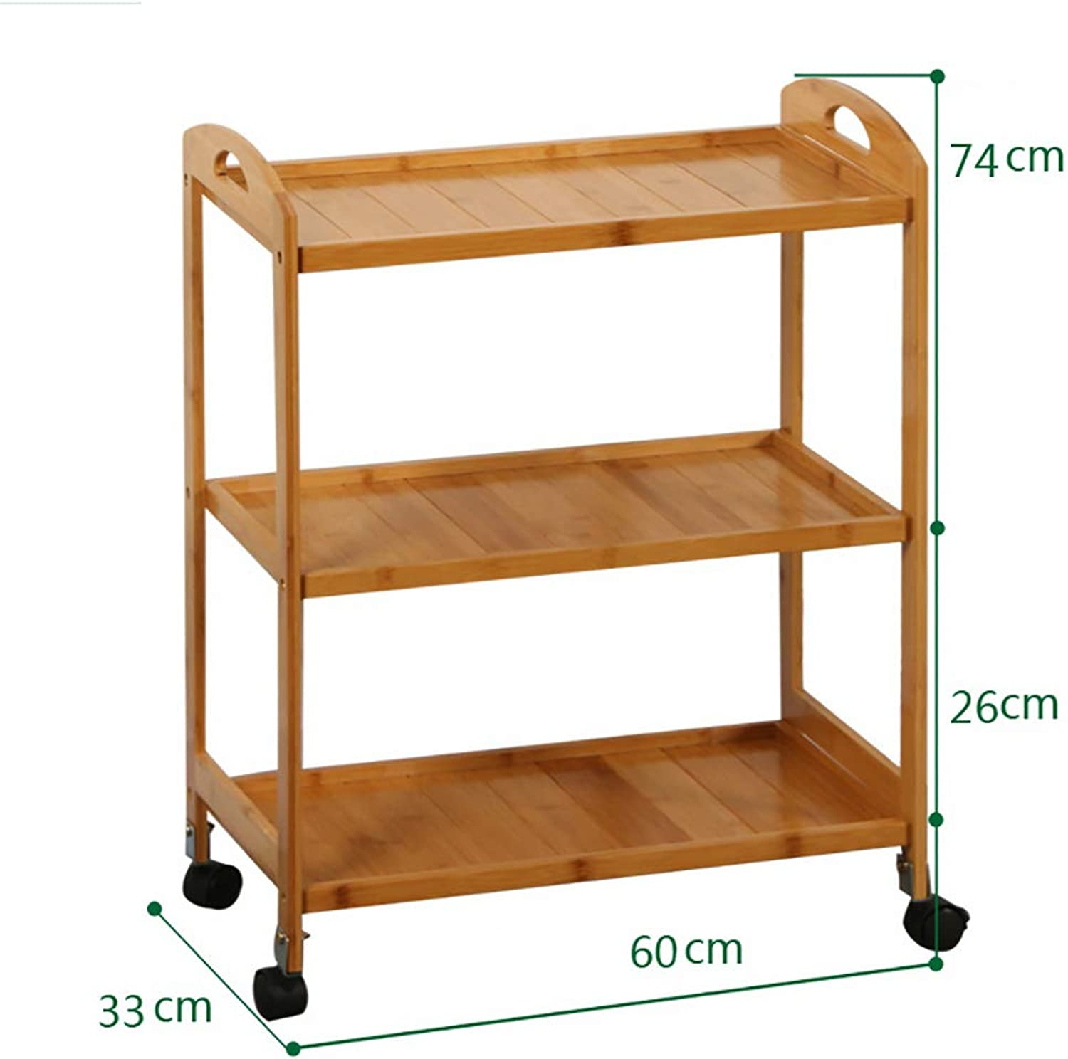 Three-Tier Rack Solid Wood Floor Pulley it can Move Shelf Bamboo Multi-Layer Storage for Beauty and Catering (color   C)