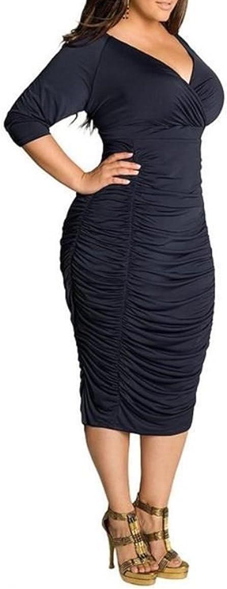 zhxinashu Oversize Empire Waist V-Neck Women Prom Bodycon Dress (L-3XL)
