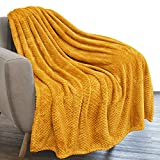 PAVILIA Waffle Textured Fleece Throw Blanket for Couch Sofa, Mustard Yellow | Soft Plush Velvet Flannel Blanket for Living Room | Fuzzy Lightweight Microfiber Throw for All Seasons, 50 x 60 Inches