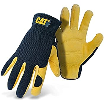 West Chester Cat CAT012205L Premium Deerskin Palm Gloves – Black/Yellow, Large, Gel Padded Palm Gloves with Polyester/Spandex Back