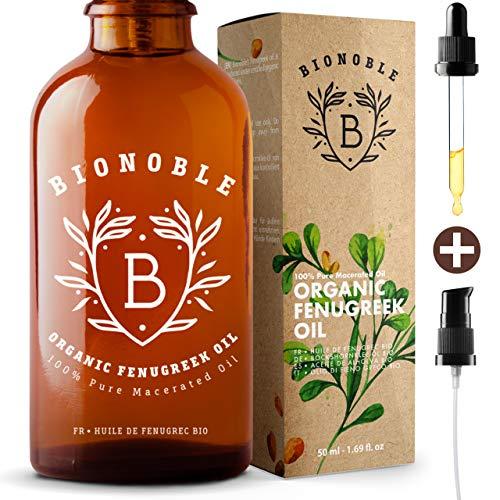 BIONOBLE BIO BOCKSHORNKLEE ÖL | Öl-Mazerat, Bockshornkleesamenextrakt & Sonnenblumenöl | Pumpe, Glaspipette & Flasche | Massageöl | Vitamin E Öl | Brustvergrößerung | Brüste, Hintern (50ml)