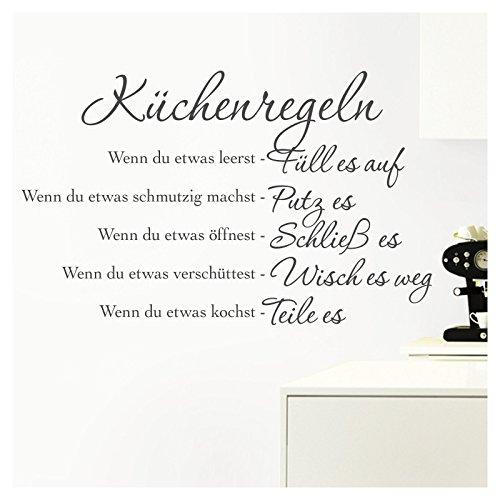 Grandora Wandtattoo Küchenregeln I dunkelgrau (BxH) 58 x 36 cm I Küche Spruch Zitat Aufkleber selbstklebend ablösbar Wandaufkleber Wandsticker Sticker W957