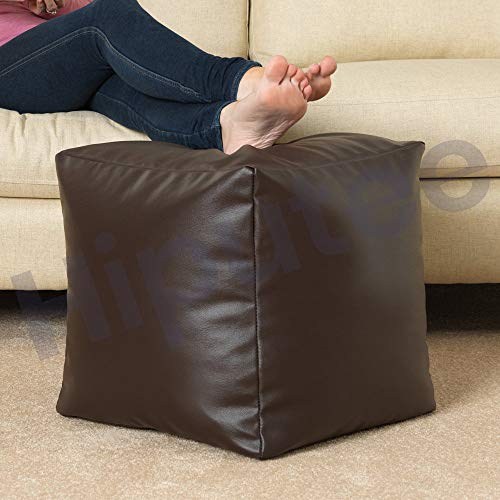 Hiputee Pouffee Foot Rest Stool Leatherette Bean Bag Cover (Without Beans) (16 x 16 inch, Brown)