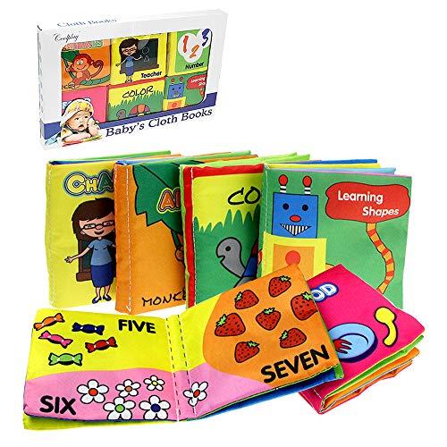 Coolplay 布えほん 赤ちゃん おもちゃ 英語 ベビー用ブック 音の鳴る絵本 カラフル ギフト包装 6冊セット