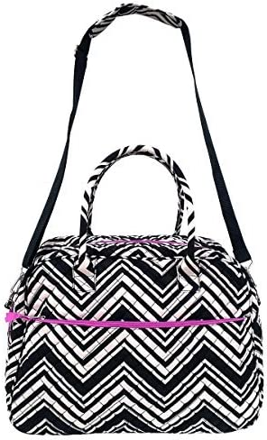 Large Seattle Mall Quilted Cotton Duffel Bag White Chevron Sho Shoulder Popular brand in the world Black