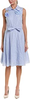 Badgley Mischka Sky Blue 100% Cotton Kneee Length Dress