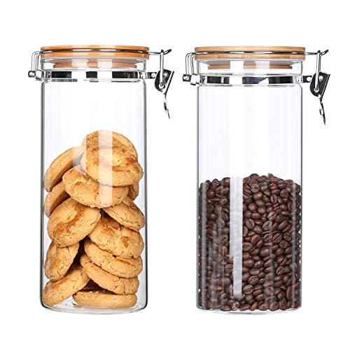 KKC Borosilikatglasbehälter mit Bambusdeckel, luftdichte Glasbehälter für ganze Kaffeebohnen, Kakaobohnen, Nudeln, Penne, getrocknete Körner, Mehlzucker-Set, versiegelte Glasbehälter, 2 Stück