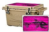 USATuff Wrap (Cooler Not Included) - Lid Kit Fits Cabelas Polar Cap 25qt - Protective Custom Vinyl Decal - Bonefish Pink Wood