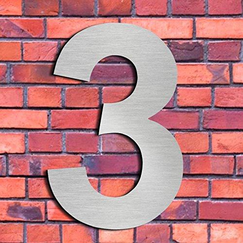 Cepillado número casa 3 Tres-15.3 cm 6 in-made sólido
