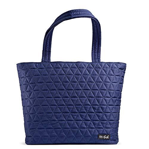 Fit & Fresh Deluxe 2 in 1 Quilted Tote Bag with Insulated Lunch Compartment, Professional Tote for Work, Navy