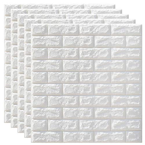 Wakauto - Papel pintado de espuma de ladrillos 3D, 5 paneles de pared, autoadhesivos, papel pintado blanco, de espuma de PE, impermeable, para pared, TV, salón y decoración para el hogar