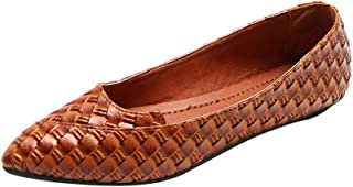 Cimaybeauty Women's Wild Single Shoes All-Match Comfortable Shallow Mouth Flat Woven Shoes Fashion Non-Slip Shoes