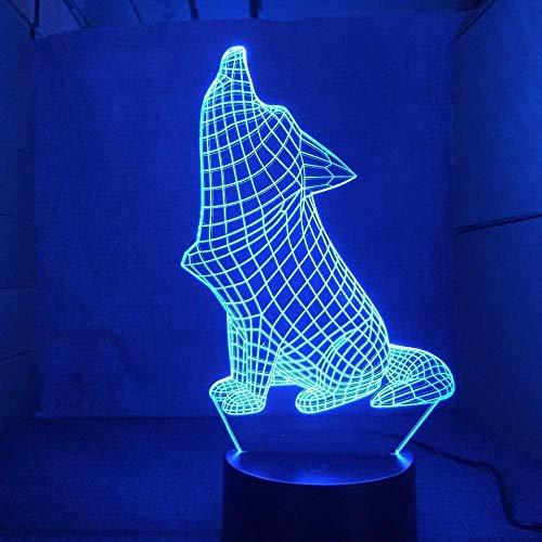 Luz de noche 3D de perro rugiente LED colorido deslizante USB táctil Control remoto lámpara de escritorio decoración del dormitorio del hogar juguete de regalo especial para niños