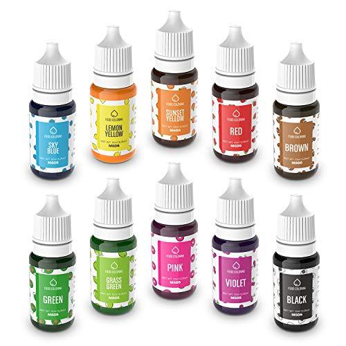 Colorante Alimentario Liquido Set 10×10ml, Abree Food Coloring Alta Concentración Colorante Reposteria para Colorear Bebidas Macaron Fondant Pasteles Galletas