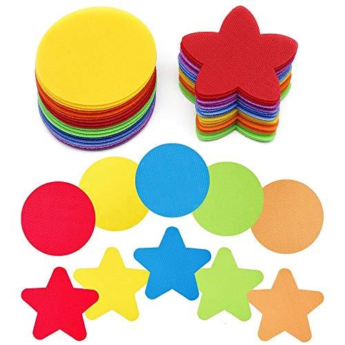 JUN-H 36 Piezas 4 Pulgadas Marcadores de Alfombra de Etiqueta Mágica Círculo de Colores y Estrellas Marcadores para Suministros para Juegos para Niños, 6 Colores
