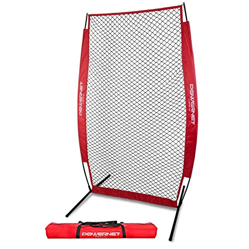 PowerNet I-Screen with Frame and Carry Bag (Red)   Portable Baseball Pitcher Protection at Batting Practice   Instant Player and Coach Protector from Line Drives Grounders   Heavy Duty Netting