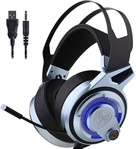 QCSMegy Headphones 7.1 Bass Stereo Headphones,PC Gaming Headset Noise Canceling Virtual Surround Sound HD Microphone And Color LED Lights USB Plug Gamer Headset