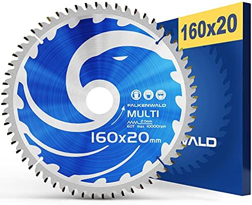 FALKENWALD - Hoja de Sierra Circular 160 x 20 mm - Ideal para Madera - Metal y Aluminio - Disco de Corte compatible con Sierra Tronzadora y Sierra Circular de Bosch & Makita
