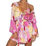 DELIMALI Y2K - Vestido de camisa de estética para mujer, estilo informal, manga larga, con botones, cuello en V, túnica con cinturón, Multicolor, M