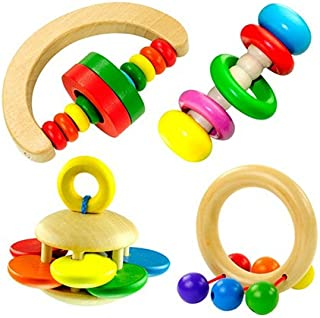 Anniston Kids Toys, Cute Baby Kids Colorful Wooden Rattle Toy Handbell Musical Education Bell Toys Baby Toys for Children ...